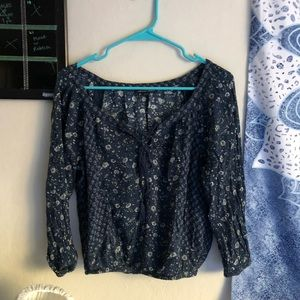 Blue and white floral peasant top